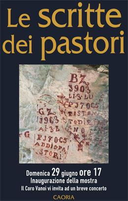 """Locandina mostra """"Le scritte dei pastori"""" Caoria"""