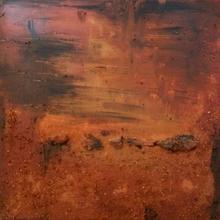 acrilico terracotta e legno su tela   60x60cm -senza titolo